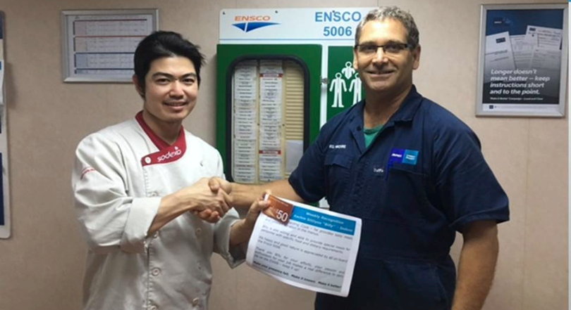 Client recognition awarded to ENSCO 5006 Catering Team